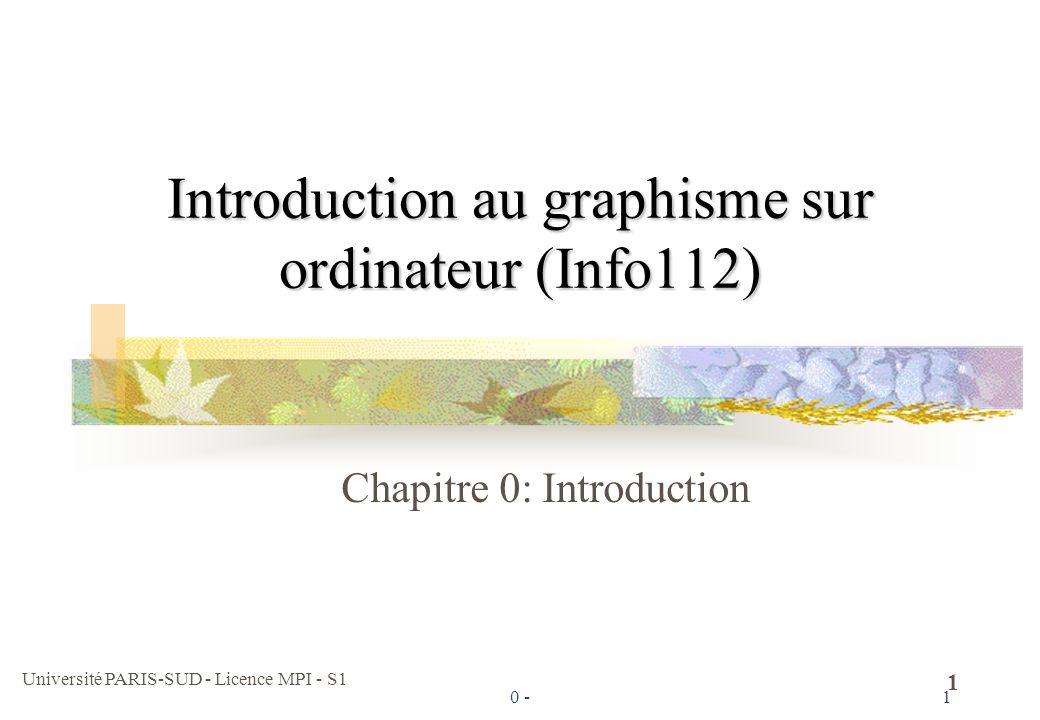 Université PARIS-SUD - Licence MPI - S1 12 Et maintenant Les écrans ont évolués Ils peuvent afficher des dessins géométriques Ils peuvent afficher des images pré-enregistrées (bitmap) Ils peuvent afficher des pixels de couleur En jouant sur trois petits points rouge, vert et bleu très proches Ils sont très rapides, plus grand, etc.