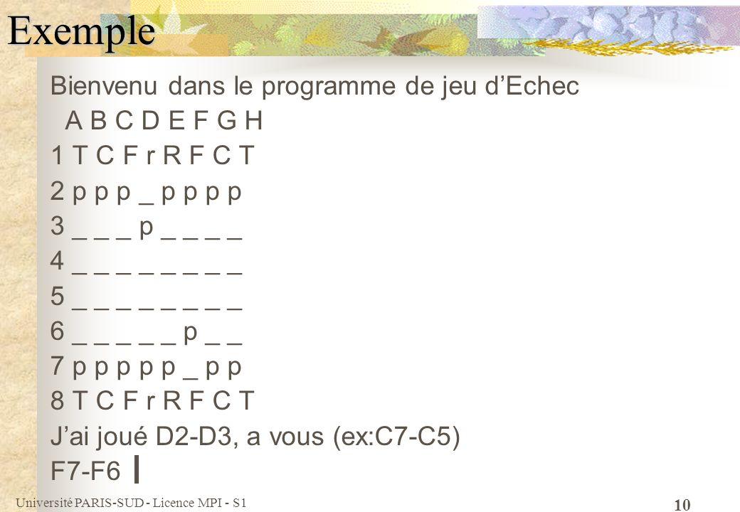 Université PARIS-SUD - Licence MPI - S1 10Exemple Bienvenu dans le programme de jeu dEchec A B C D E F G H 1 T C F r R F C T 2 p p p _ p p p p 3 _ _ _