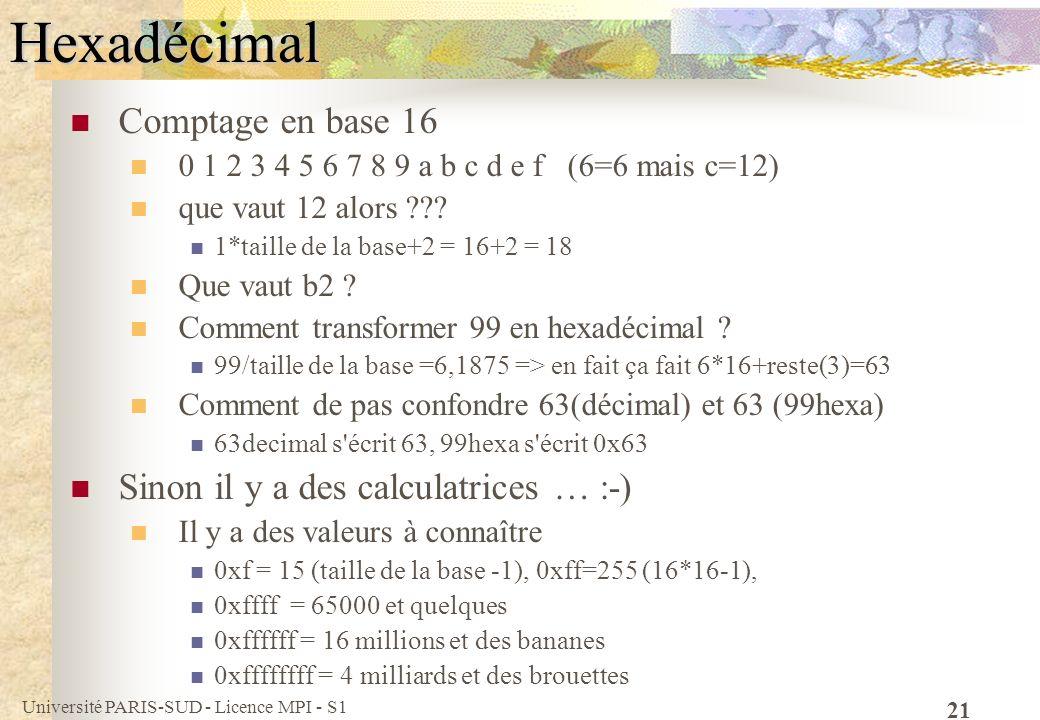 Université PARIS-SUD - Licence MPI - S1 21Hexadécimal Comptage en base 16 0 1 2 3 4 5 6 7 8 9 a b c d e f (6=6 mais c=12) que vaut 12 alors ??? 1*tail