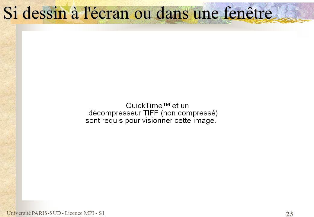 Université PARIS-SUD - Licence MPI - S1 23 Si dessin à l'écran ou dans une fenêtre