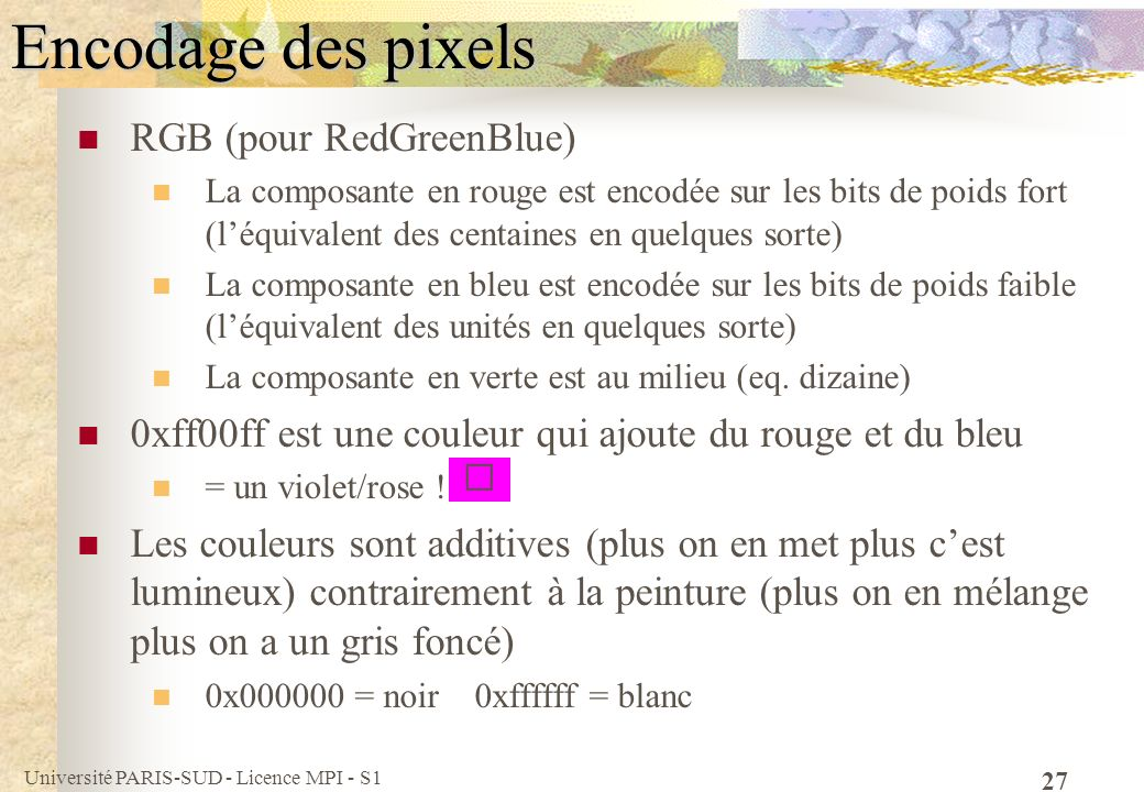 Université PARIS-SUD - Licence MPI - S1 27 Encodage des pixels RGB (pour RedGreenBlue) La composante en rouge est encodée sur les bits de poids fort (