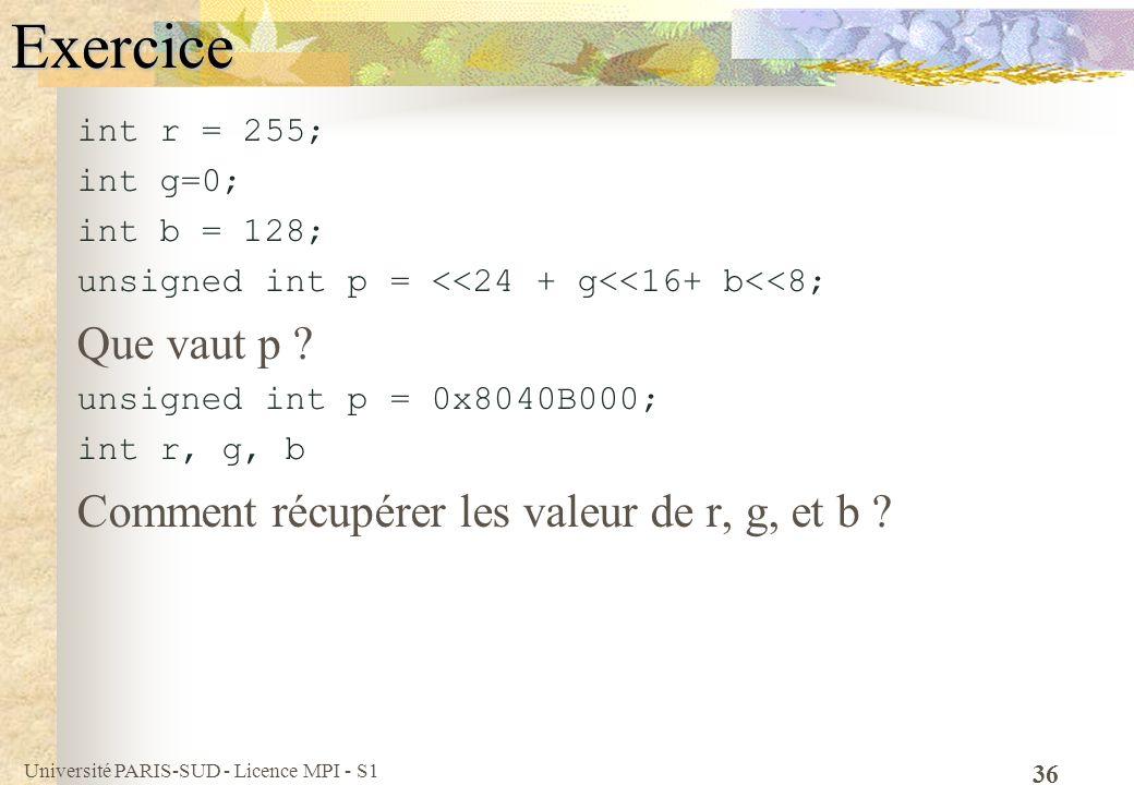 Université PARIS-SUD - Licence MPI - S1 36Exercice int r = 255; int g=0; int b = 128; unsigned int p = <<24 + g<<16+ b<<8; Que vaut p ? unsigned int p