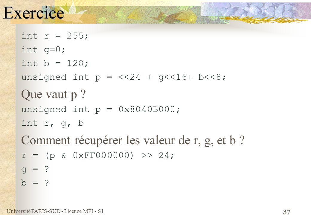 Université PARIS-SUD - Licence MPI - S1 37Exercice int r = 255; int g=0; int b = 128; unsigned int p = <<24 + g<<16+ b<<8; Que vaut p ? unsigned int p
