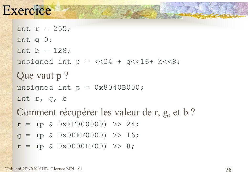 Université PARIS-SUD - Licence MPI - S1 38Exercice int r = 255; int g=0; int b = 128; unsigned int p = <<24 + g<<16+ b<<8; Que vaut p ? unsigned int p