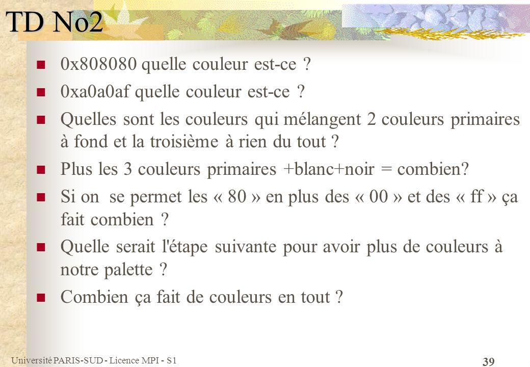 Université PARIS-SUD - Licence MPI - S1 39 TD No2 0x808080 quelle couleur est-ce ? 0xa0a0af quelle couleur est-ce ? Quelles sont les couleurs qui méla