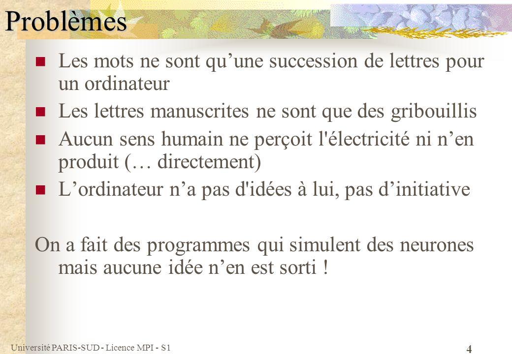Université PARIS-SUD - Licence MPI - S1 4Problèmes Les mots ne sont quune succession de lettres pour un ordinateur Les lettres manuscrites ne sont que