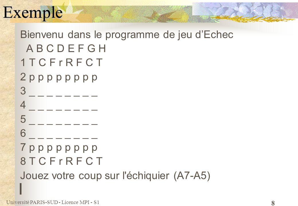 Université PARIS-SUD - Licence MPI - S1 9Exemple Bienvenu dans le programme de jeu dEchec A B C D E F G H 1 T C F r R F C T 2 p p p p p p p p 3 _ _ _ _ _ _ _ _ 4 _ _ _ _ _ _ _ _ 5 _ _ _ _ _ _ _ _ 6 _ _ _ _ _ _ _ _ 7 p p p p p p p p 8 T C F r R F C T Jouez votre coup sur l échiquier(ex:A7-A5) F7-F6