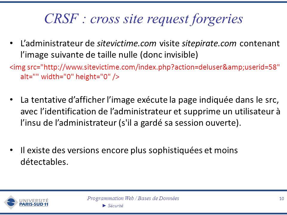 Programmation Web / Bases de Données Sécurité CRSF : cross site request forgeries Ladministrateur de sitevictime.com visite sitepirate.com contenant l