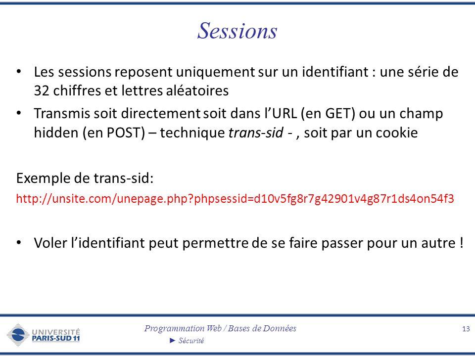 Programmation Web / Bases de Données Sécurité Sessions Les sessions reposent uniquement sur un identifiant : une série de 32 chiffres et lettres aléatoires Transmis soit directement soit dans lURL (en GET) ou un champ hidden (en POST) – technique trans-sid -, soit par un cookie Exemple de trans-sid: http://unsite.com/unepage.php phpsessid=d10v5fg8r7g42901v4g87r1ds4on54f3 Voler lidentifiant peut permettre de se faire passer pour un autre .