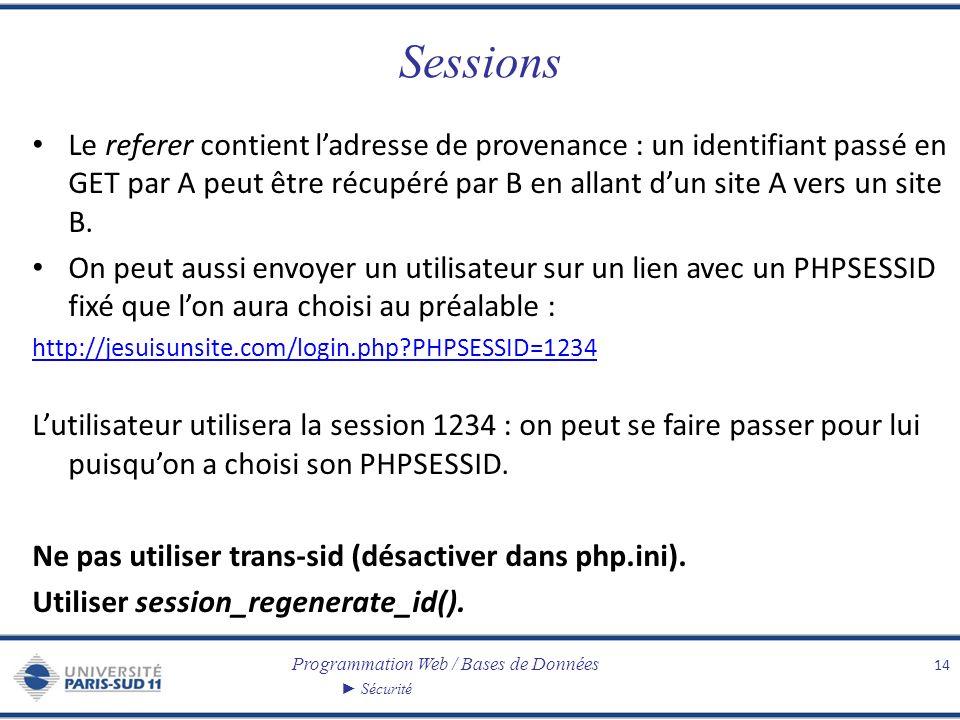 Programmation Web / Bases de Données Sécurité Sessions Le referer contient ladresse de provenance : un identifiant passé en GET par A peut être récupéré par B en allant dun site A vers un site B.