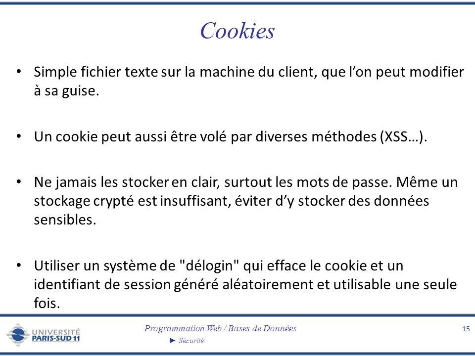 Programmation Web / Bases de Données Sécurité Cookies Simple fichier texte sur la machine du client, que lon peut modifier à sa guise. Un cookie peut