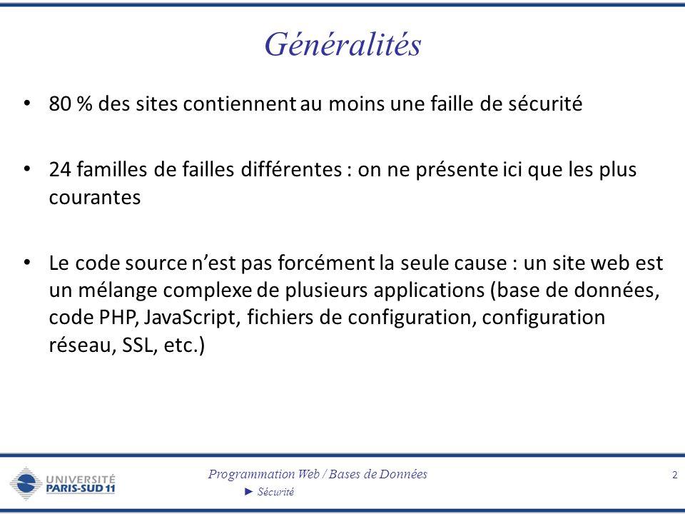 Programmation Web / Bases de Données Sécurité Généralités 80 % des sites contiennent au moins une faille de sécurité 24 familles de failles différentes : on ne présente ici que les plus courantes Le code source nest pas forcément la seule cause : un site web est un mélange complexe de plusieurs applications (base de données, code PHP, JavaScript, fichiers de configuration, configuration réseau, SSL, etc.) 2