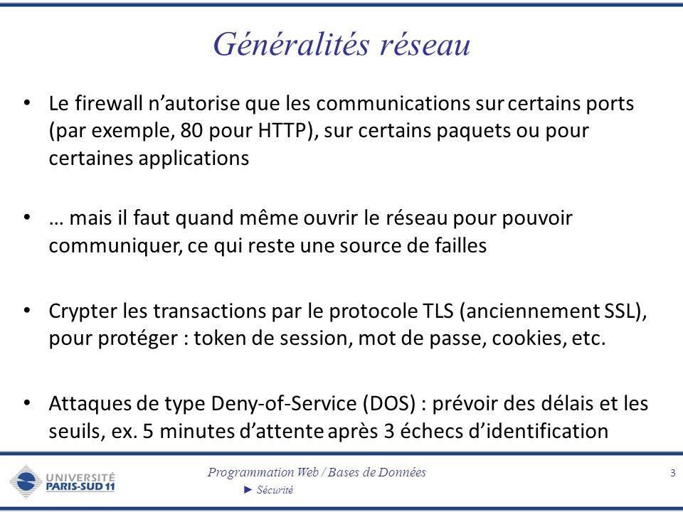 Programmation Web / Bases de Données Sécurité Généralités réseau Le firewall nautorise que les communications sur certains ports (par exemple, 80 pour