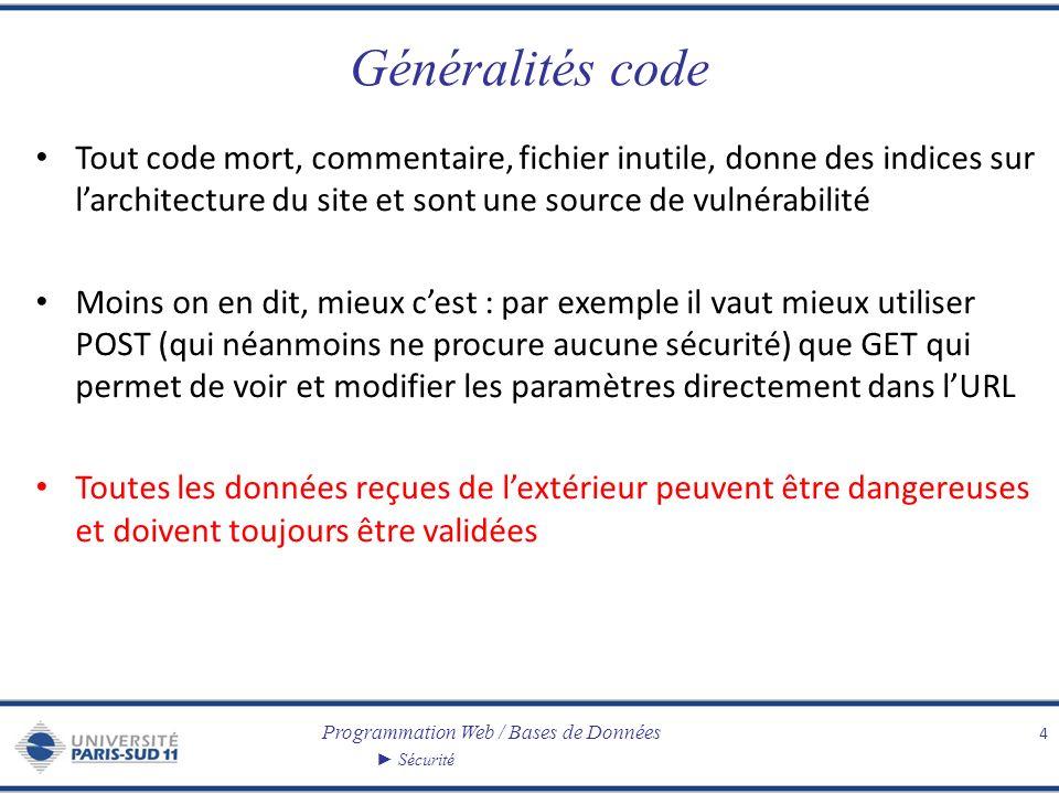 Programmation Web / Bases de Données Sécurité Généralités code Tout code mort, commentaire, fichier inutile, donne des indices sur larchitecture du si