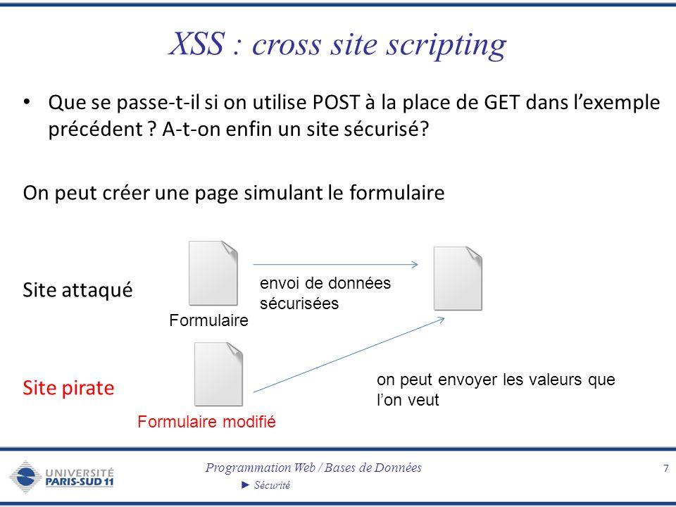 Programmation Web / Bases de Données Sécurité XSS : cross site scripting Que se passe-t-il si on utilise POST à la place de GET dans lexemple précéden