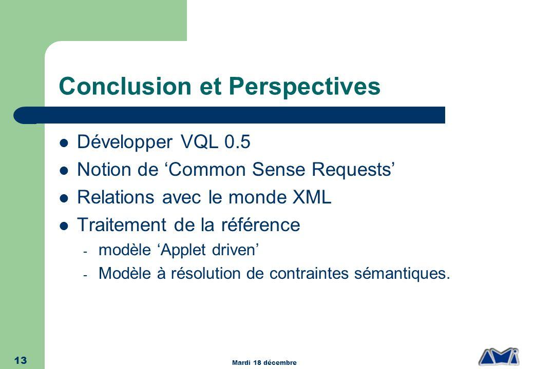 Mardi 18 décembre 13 Conclusion et Perspectives Développer VQL 0.5 Notion de Common Sense Requests Relations avec le monde XML Traitement de la référe