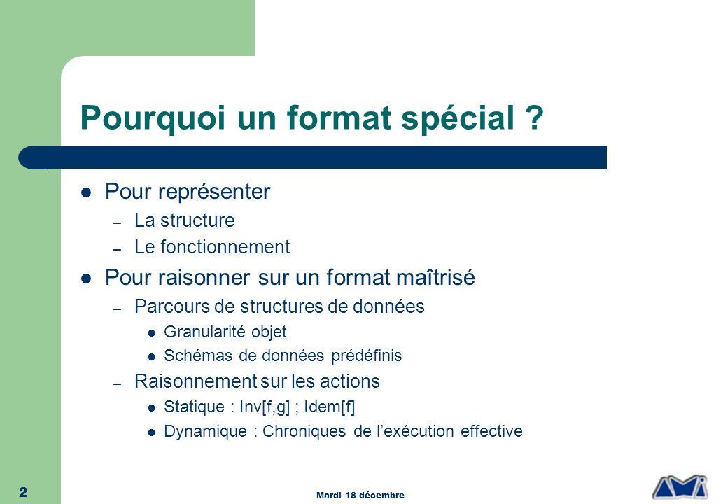 Mardi 18 décembre 2 Pourquoi un format spécial ? Pour représenter – La structure – Le fonctionnement Pour raisonner sur un format maîtrisé – Parcours
