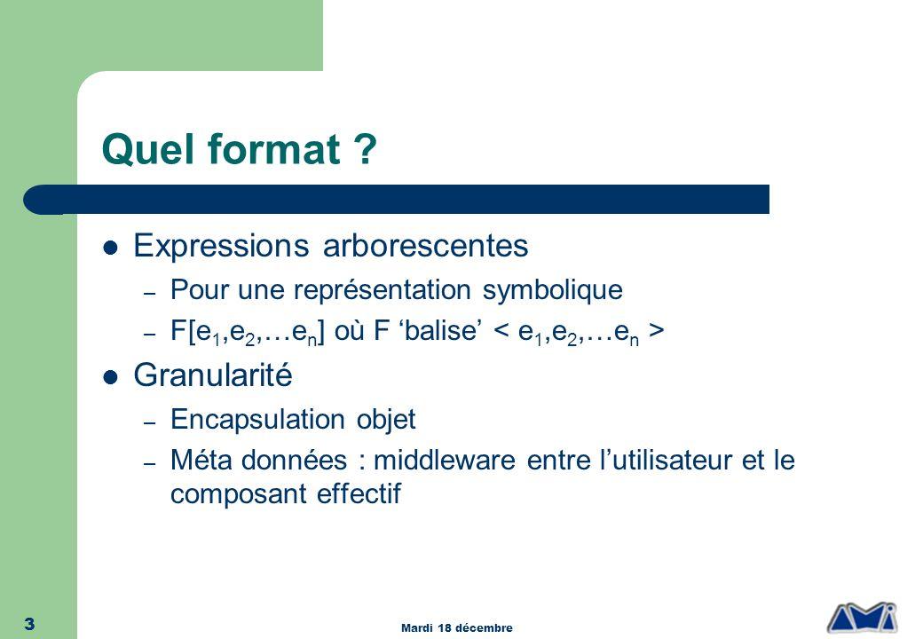Mardi 18 décembre 3 Quel format ? Expressions arborescentes – Pour une représentation symbolique – F[e 1,e 2,…e n ] où F balise Granularité – Encapsul