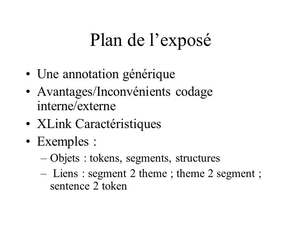 Plan de lexposé Une annotation générique Avantages/Inconvénients codage interne/externe XLink Caractéristiques Exemples : –Objets : tokens, segments,