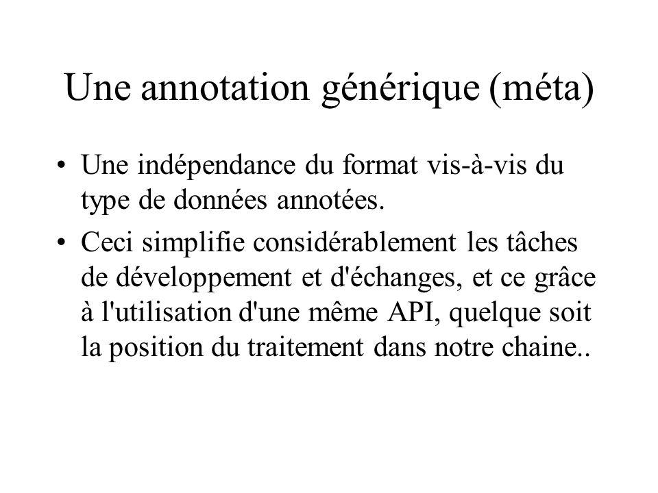 Une annotation générique (méta) Une indépendance du format vis-à-vis du type de données annotées. Ceci simplifie considérablement les tâches de dévelo