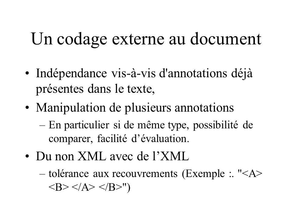 Un codage externe au document Indépendance vis-à-vis d annotations déjà présentes dans le texte, Manipulation de plusieurs annotations –En particulier si de même type, possibilité de comparer, facilité dévaluation.
