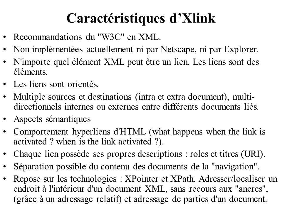 Caractéristiques dXlink Recommandations du W3C en XML.