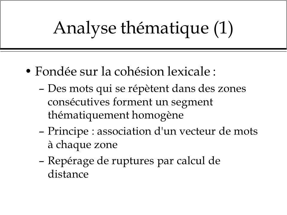 Analyse thématique (1) Fondée sur la cohésion lexicale : –Des mots qui se répètent dans des zones consécutives forment un segment thématiquement homog