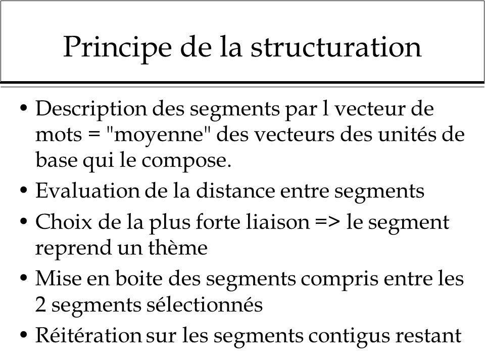 Principe de la structuration Description des segments par l vecteur de mots =
