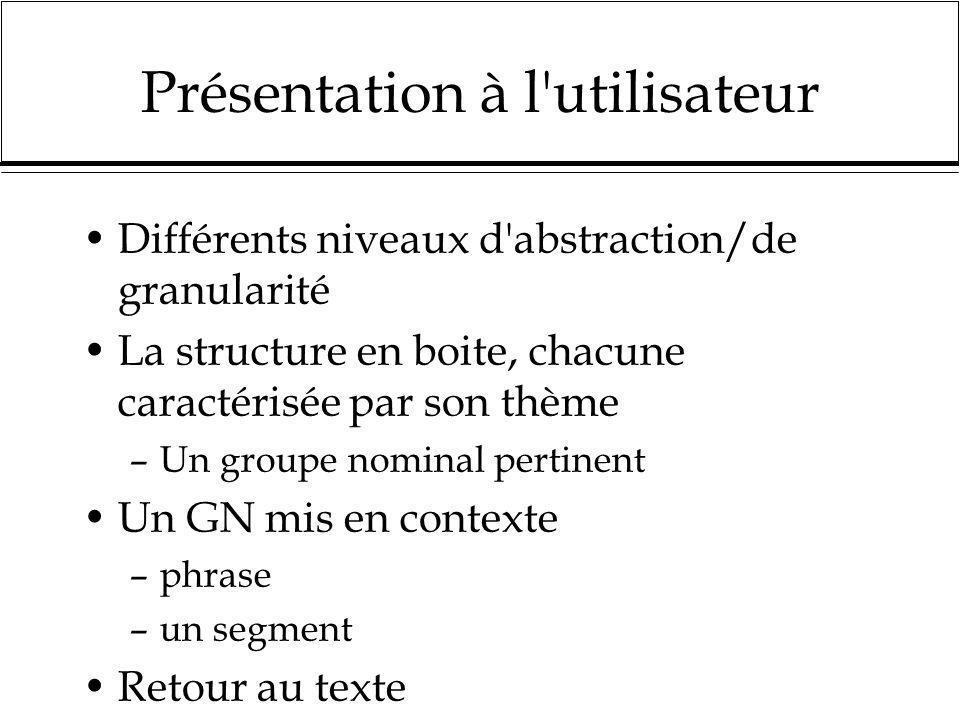Présentation à l'utilisateur Différents niveaux d'abstraction/de granularité La structure en boite, chacune caractérisée par son thème –Un groupe nomi