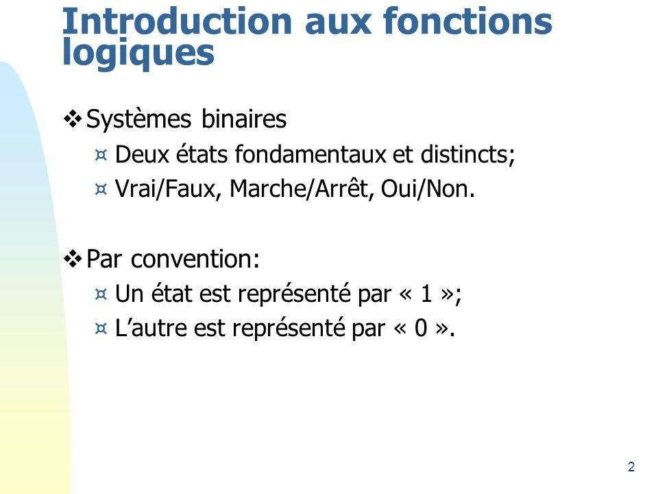 2 Introduction aux fonctions logiques Systèmes binaires ¤Deux états fondamentaux et distincts; ¤Vrai/Faux, Marche/Arrêt, Oui/Non. Par convention: ¤Un