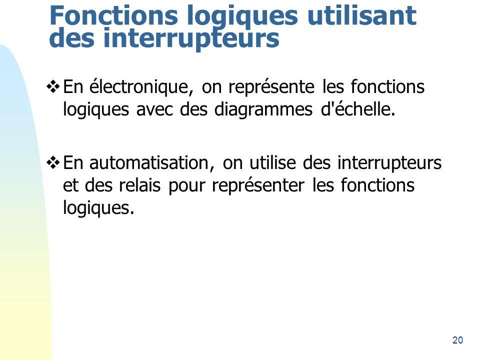 20 Fonctions logiques utilisant des interrupteurs En électronique, on représente les fonctions logiques avec des diagrammes d échelle.