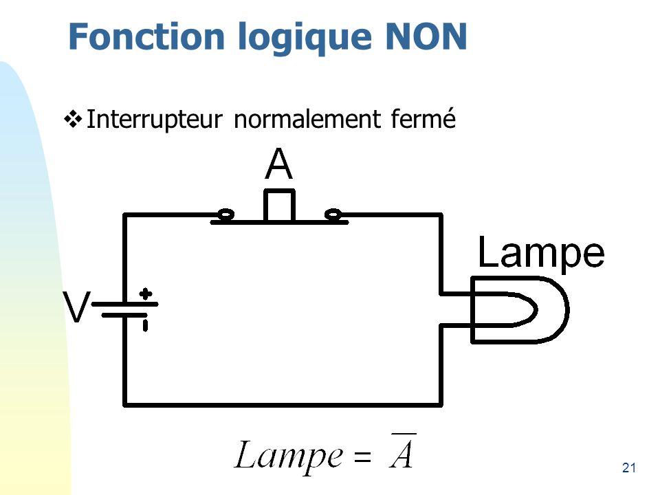 21 Fonction logique NON Interrupteur normalement fermé
