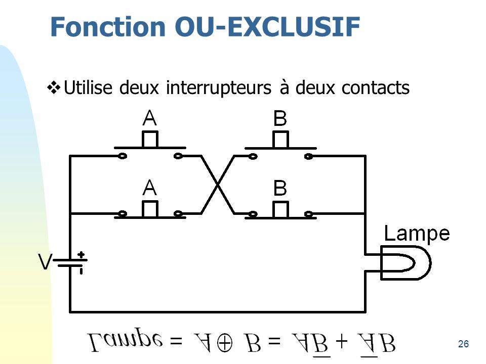 26 Fonction OU-EXCLUSIF Utilise deux interrupteurs à deux contacts