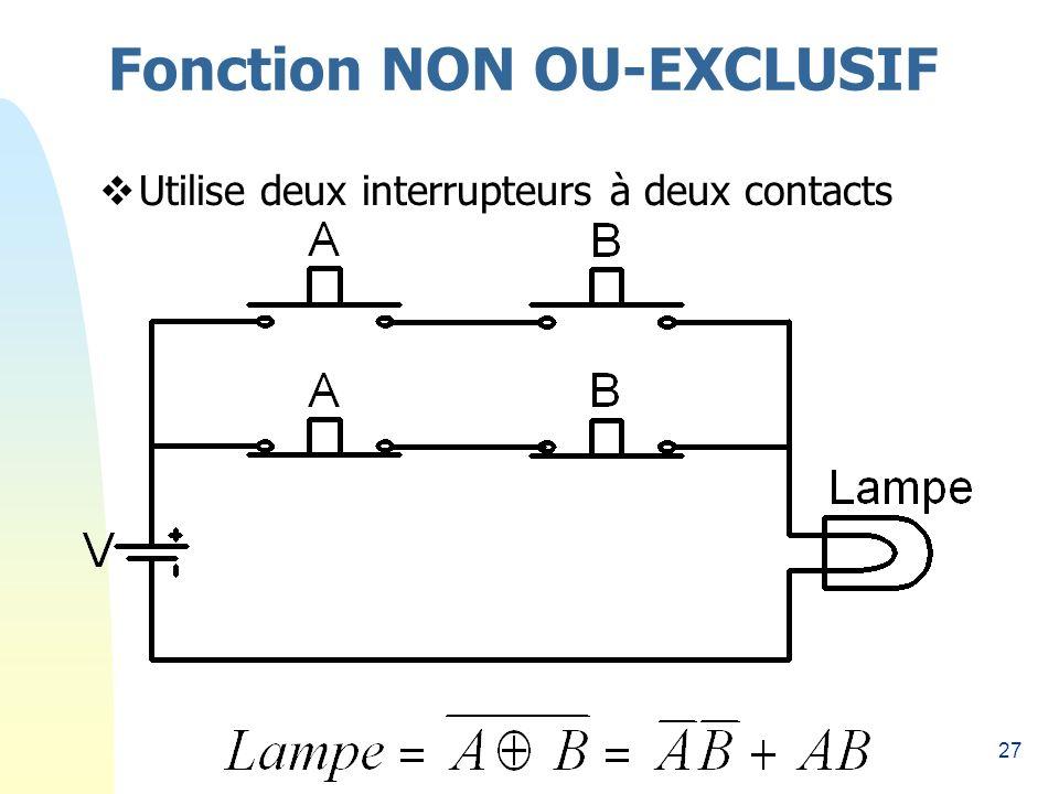 27 Fonction NON OU-EXCLUSIF Utilise deux interrupteurs à deux contacts