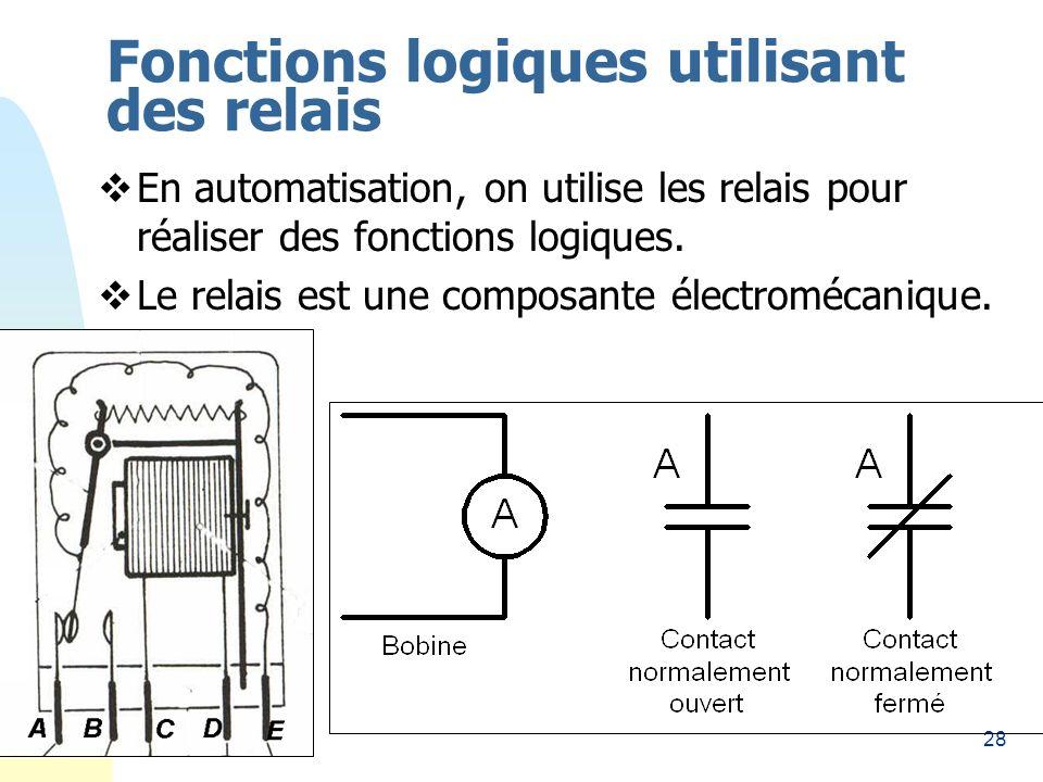 28 Fonctions logiques utilisant des relais En automatisation, on utilise les relais pour réaliser des fonctions logiques. Le relais est une composante