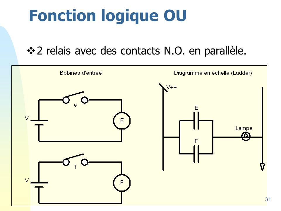 31 Fonction logique OU 2 relais avec des contacts N.O. en parallèle.