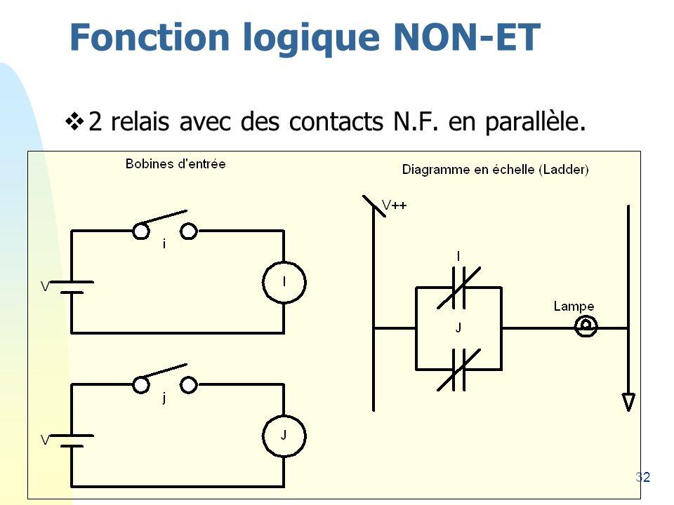 32 Fonction logique NON-ET 2 relais avec des contacts N.F. en parallèle.