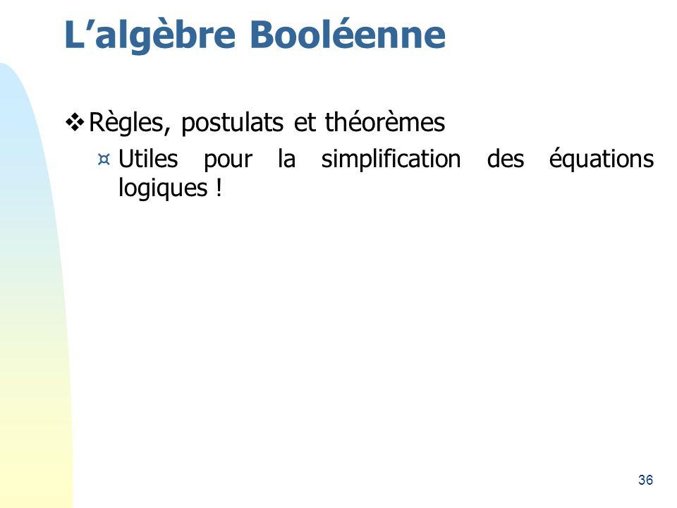 36 Règles, postulats et théorèmes ¤Utiles pour la simplification des équations logiques ! Lalgèbre Booléenne