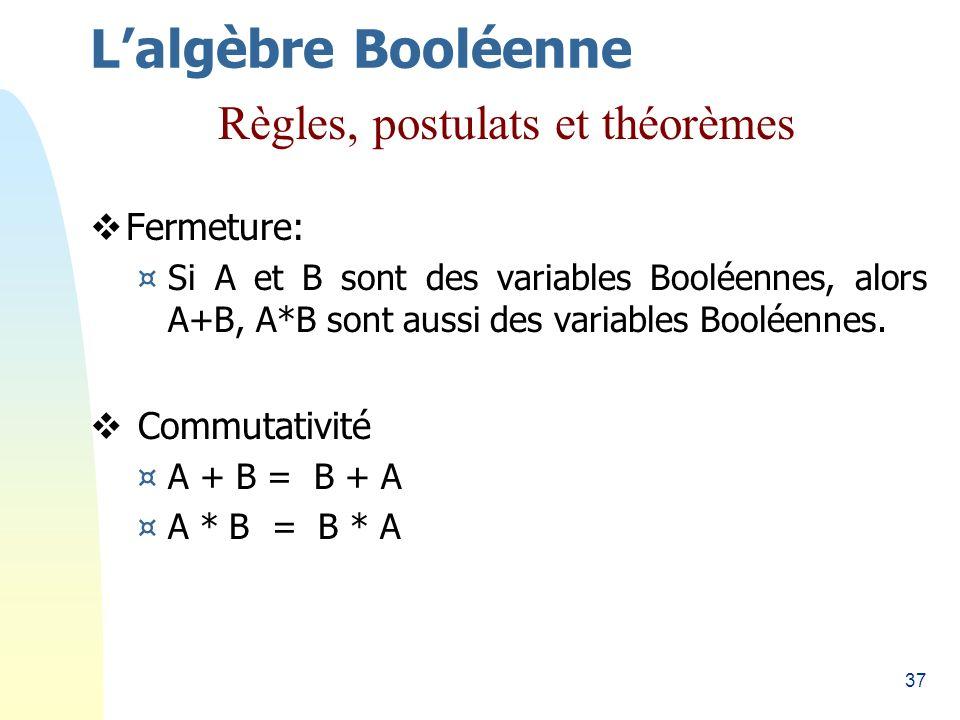 37 Fermeture: ¤Si A et B sont des variables Booléennes, alors A+B, A*B sont aussi des variables Booléennes. Commutativité ¤A + B = B + A ¤A * B = B *