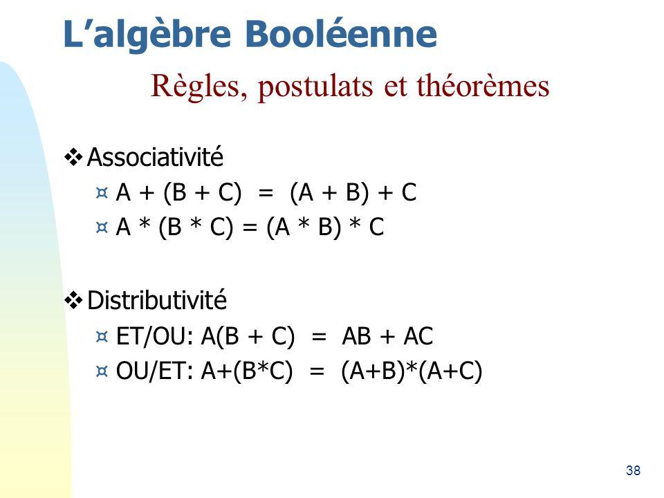 38 Associativité ¤A + (B + C) = (A + B) + C ¤A * (B * C) = (A * B) * C Distributivité ¤ET/OU: A(B + C) = AB + AC ¤OU/ET: A+(B*C) = (A+B)*(A+C) Lalgèbr