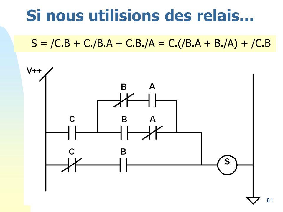 51 Si nous utilisions des relais... S = /C.B + C./B.A + C.B./A = C.(/B.A + B./A) + /C.B