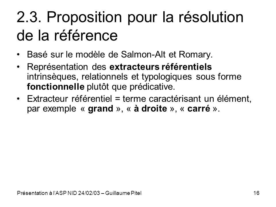 Présentation à lASP NID 24/02/03 – Guillaume Pitel16 2.3. Proposition pour la résolution de la référence Basé sur le modèle de Salmon-Alt et Romary. R