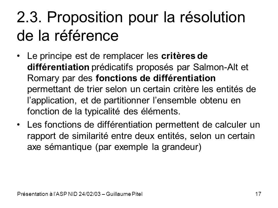 Présentation à lASP NID 24/02/03 – Guillaume Pitel17 2.3. Proposition pour la résolution de la référence Le principe est de remplacer les critères de