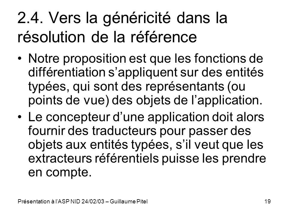 Présentation à lASP NID 24/02/03 – Guillaume Pitel19 2.4. Vers la généricité dans la résolution de la référence Notre proposition est que les fonction