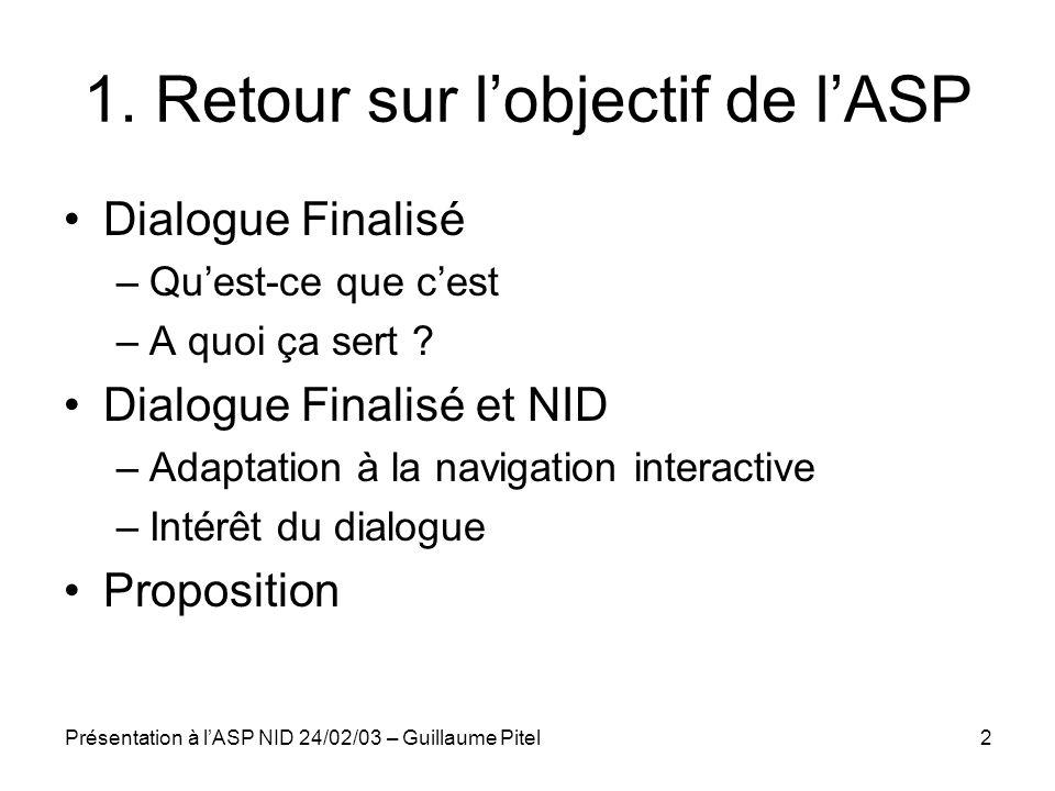Présentation à lASP NID 24/02/03 – Guillaume Pitel2 1. Retour sur lobjectif de lASP Dialogue Finalisé –Quest-ce que cest –A quoi ça sert ? Dialogue Fi