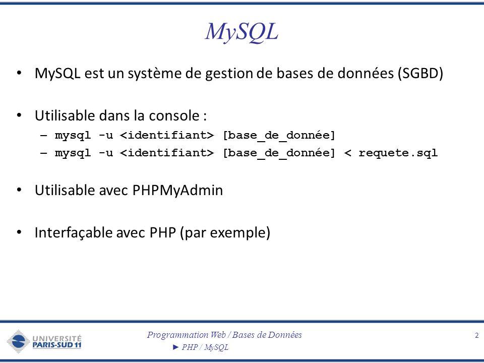 Programmation Web / Bases de Données PHP / MySQL MySQL MySQL est un système de gestion de bases de données (SGBD) Utilisable dans la console : – mysql -u [base_de_donnée] – mysql -u [base_de_donnée] < requete.sql Utilisable avec PHPMyAdmin Interfaçable avec PHP (par exemple) 2