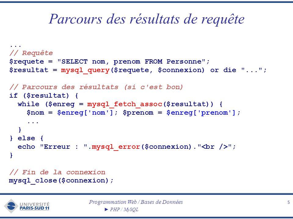 Programmation Web / Bases de Données PHP / MySQL Parcours des résultats de requête 5...