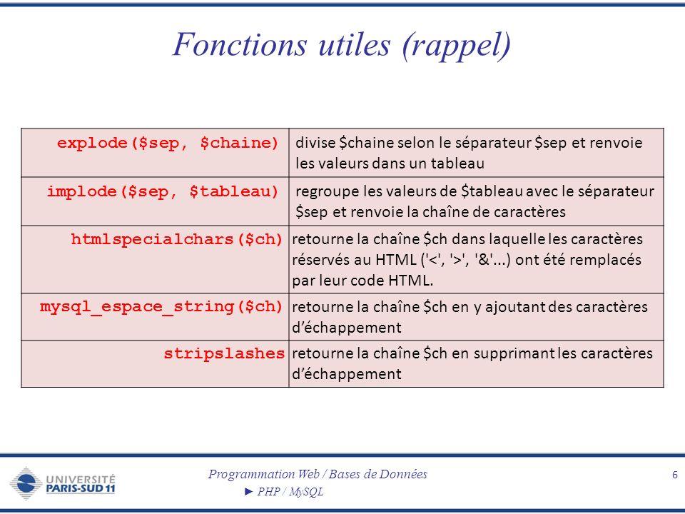 Programmation Web / Bases de Données PHP / MySQL Fonctions utiles (rappel) 6 explode($sep, $chaine) divise $chaine selon le séparateur $sep et renvoie les valeurs dans un tableau implode($sep, $tableau) regroupe les valeurs de $tableau avec le séparateur $sep et renvoie la chaîne de caractères htmlspecialchars($ch) retourne la chaîne $ch dans laquelle les caractères réservés au HTML ( , & ...) ont été remplacés par leur code HTML.