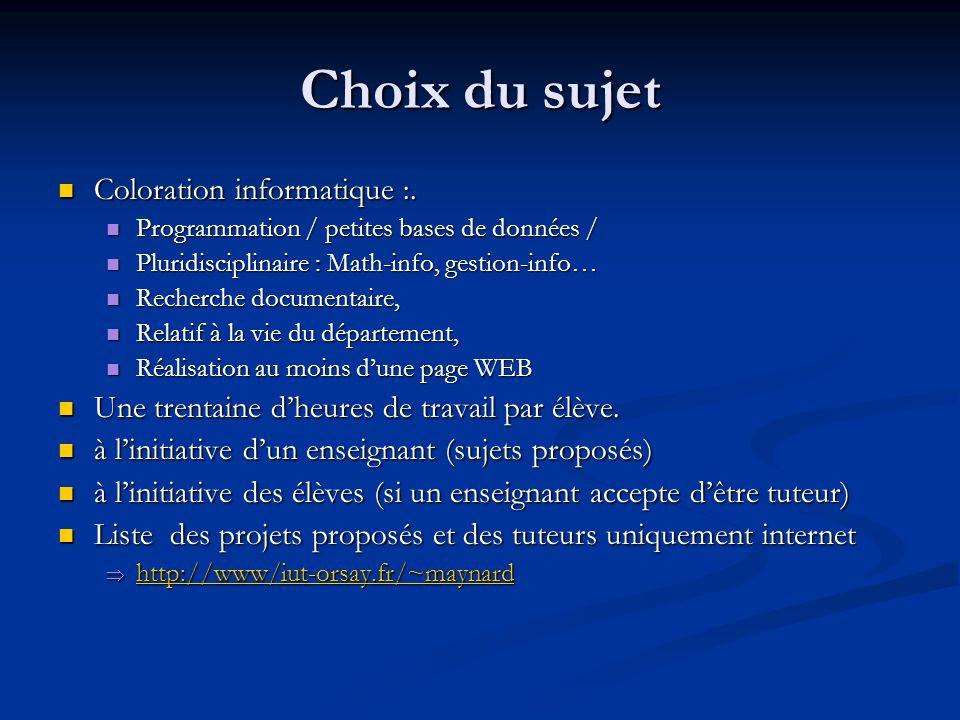 Choix du sujet Coloration informatique :. Coloration informatique :. Programmation / petites bases de données / Programmation / petites bases de donné