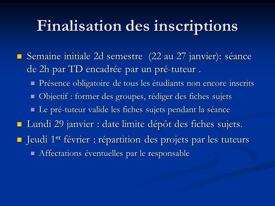 Finalisation des inscriptions Semaine initiale 2d semestre (22 au 27 janvier): séance de 2h par TD encadrée par un pré-tuteur. Semaine initiale 2d sem